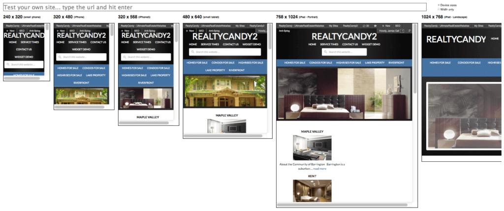 Mobile Real Estate WordPress Themes Responsive Test