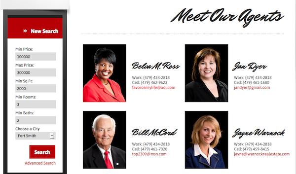 IDX Broker Platinum Agent Roster page Warnock