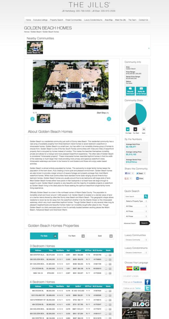 community page for luxury real estate website WOW
