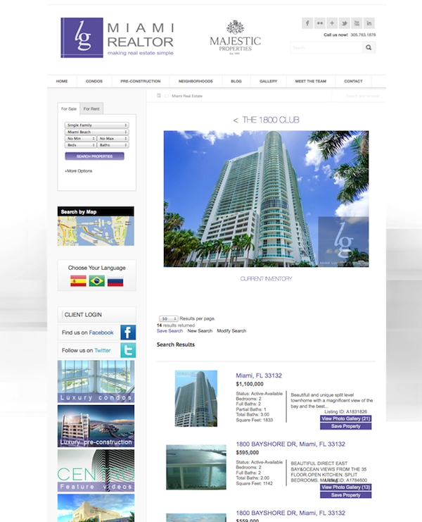 Real Estate Website of the Week 5 LGMiamiRealtors Miami IDX Broker Platinum results page