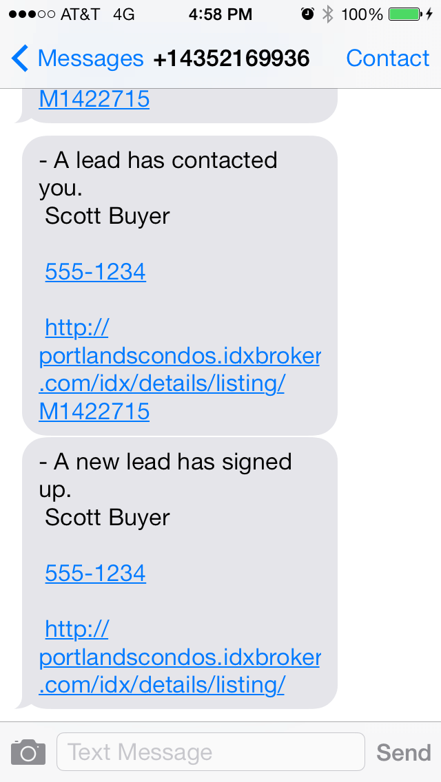 SMS for IDX Broker leads
