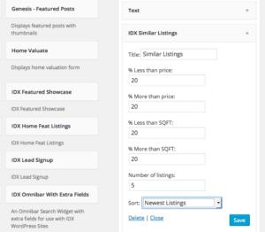 Similar Listings Widget settings