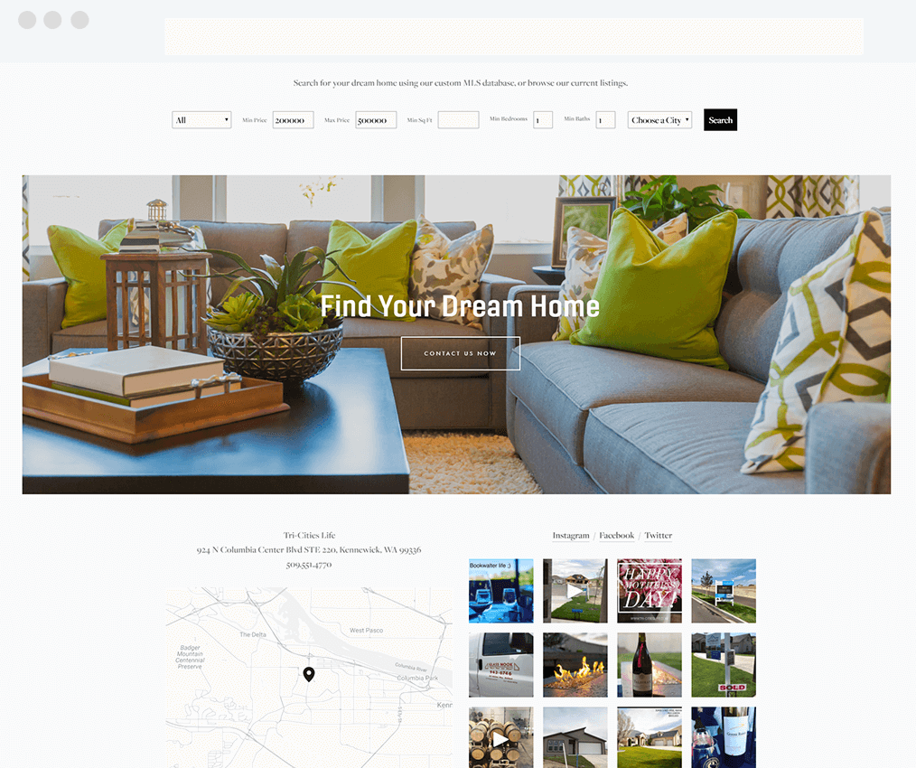 Tri-Cities Life Squarespace and IDX Broker Website