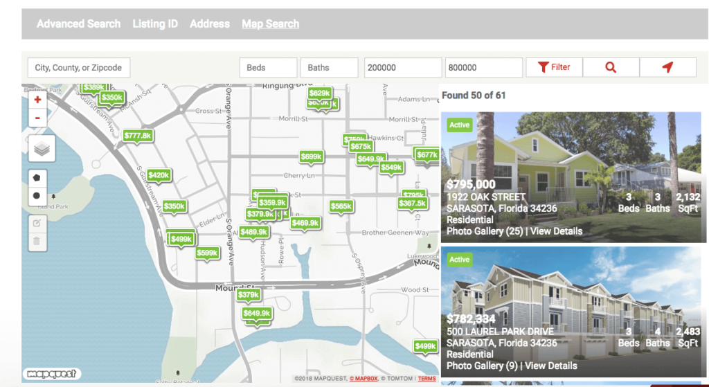Best map search for IDX Broker