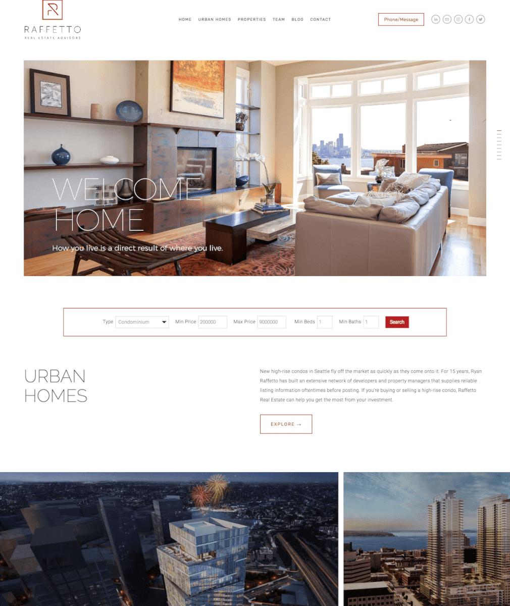 SquareSpace real estate website for Raffetto
