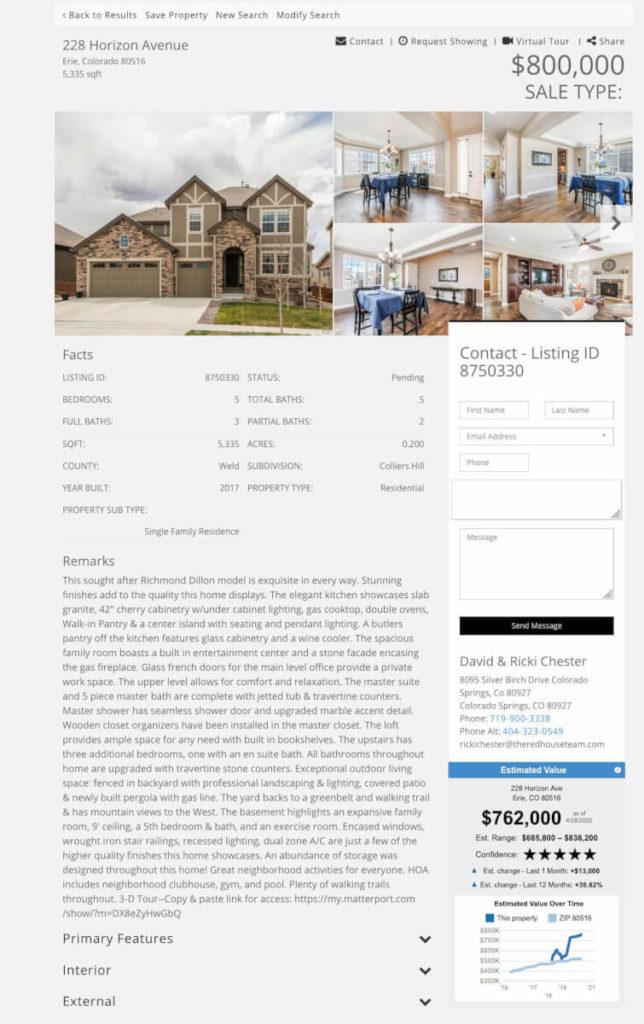 Miami Premium IDX Template Design with RPR AVM property value