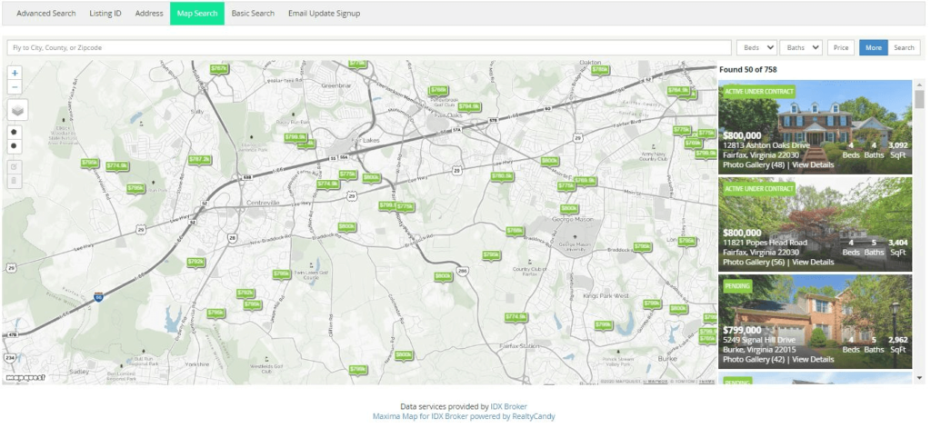 Radius Real Estate Map Search