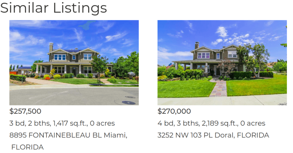 Similar listings section included