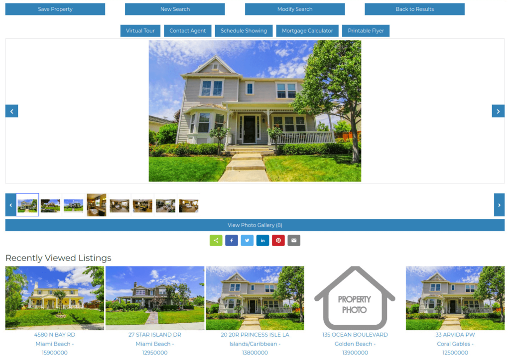 Social Share, Recently Viewed and Popular Listings at the Top of the page