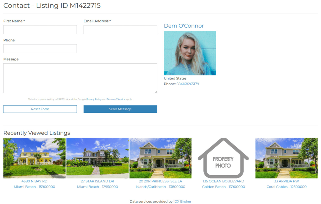Sunny Social contact and Recently Viewed properties
