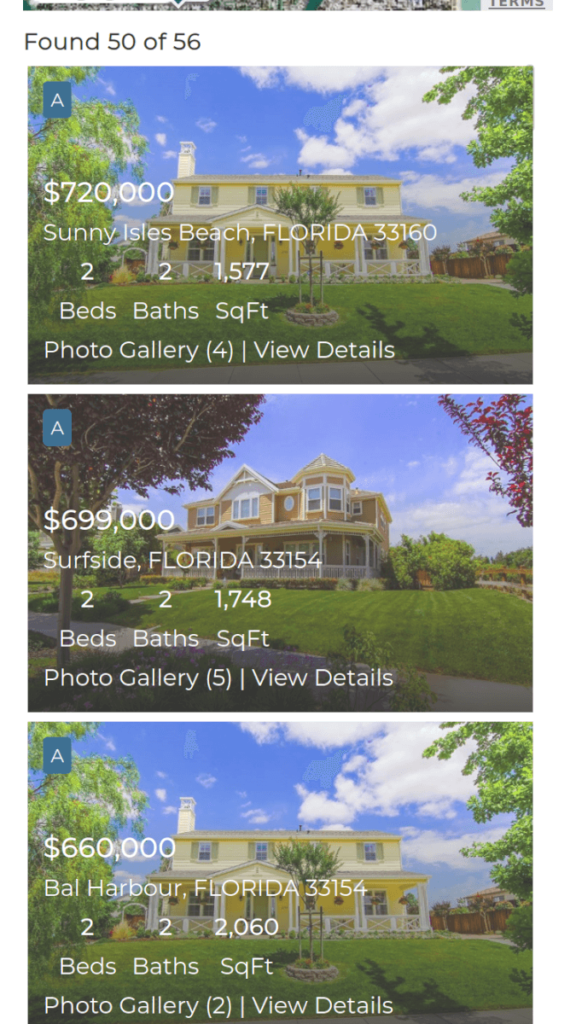Mobile View of the Listings