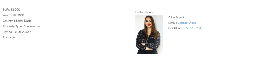 Information from listing Agent for Featured Listings