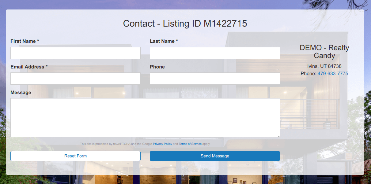 Bottom contact form with elegant parallax effect with Agent or Agency information