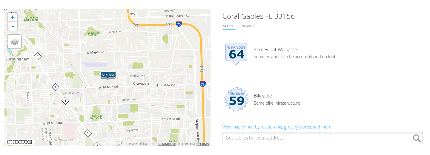 Optional side by side Map and Walkscore information