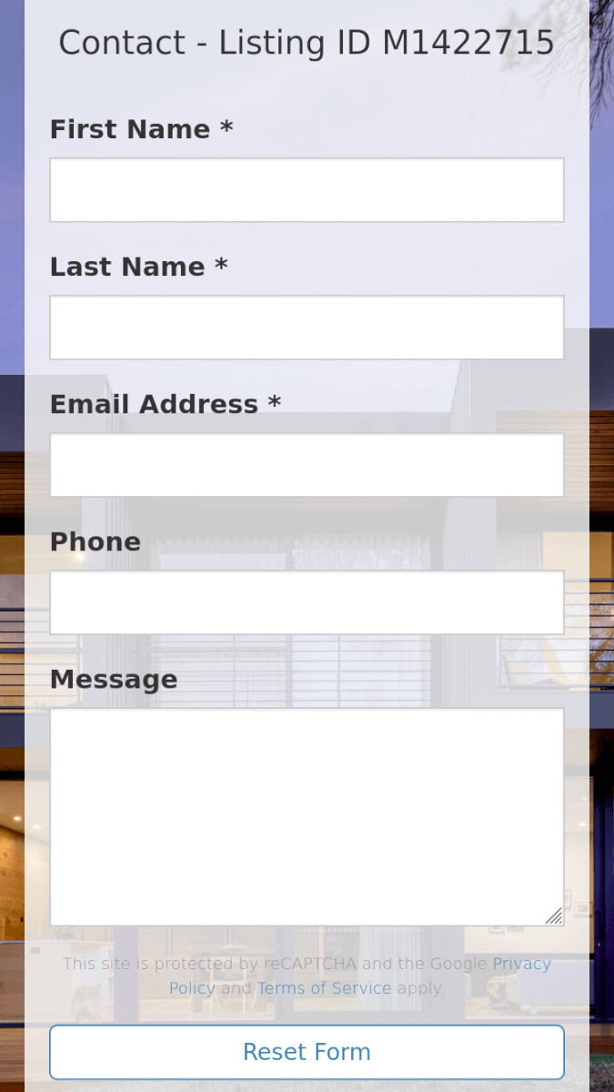 Contact form view on mobile