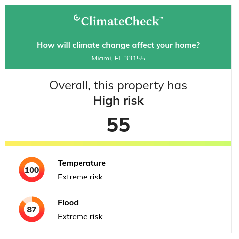 Show climate related risks for any US property directly on your website, with data powered by ClimateCheck™.